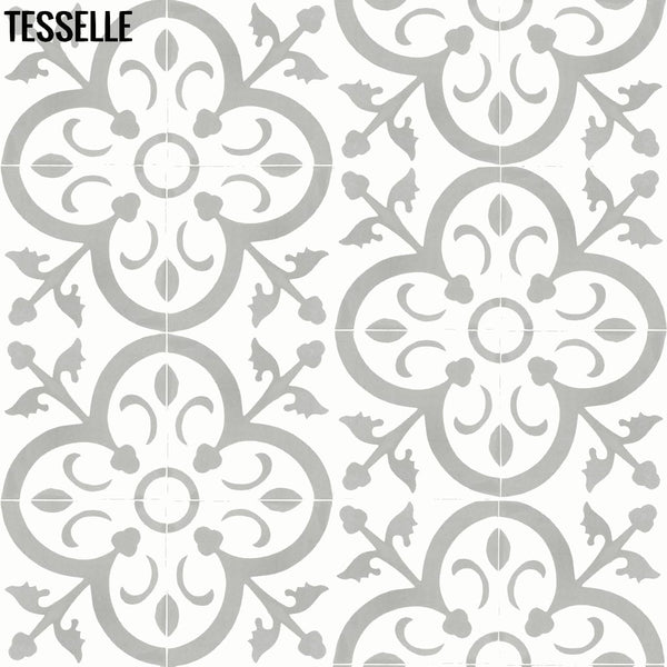 "La Fleur Celine 8"" Square Cement Tile Half Drop Layout"