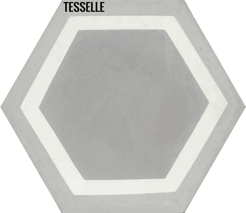"La Cella Misti 9x8"" Hexagonal Cement Tile"