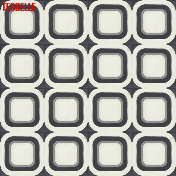 "Modda Cinder 8"" Square Cement Tile in Repeat"