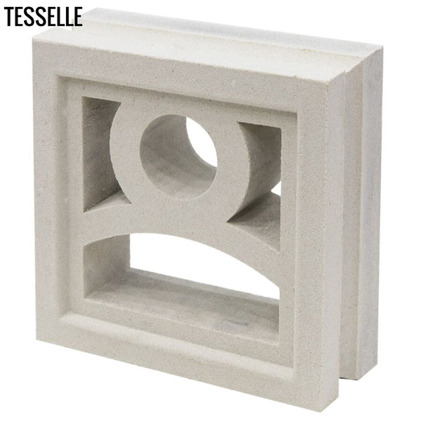 "Moonrise Lily White 7.5"" Cement Breeze Block Angle"