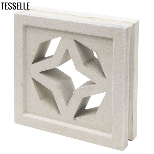 "North Star Lily White 7.5"" Cement Breeze Block -Angle"