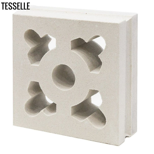 "Ornament Lily White 7.5"" Cement Breeze Block angle"