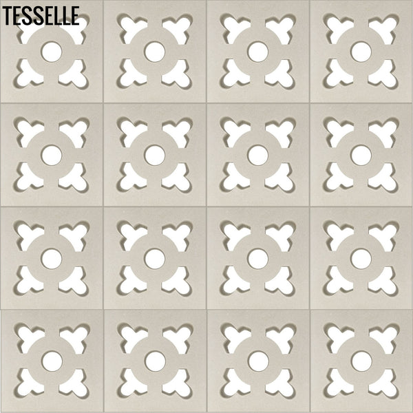 "Ornament Lily White 7.5"" Cement Breeze Block layout"