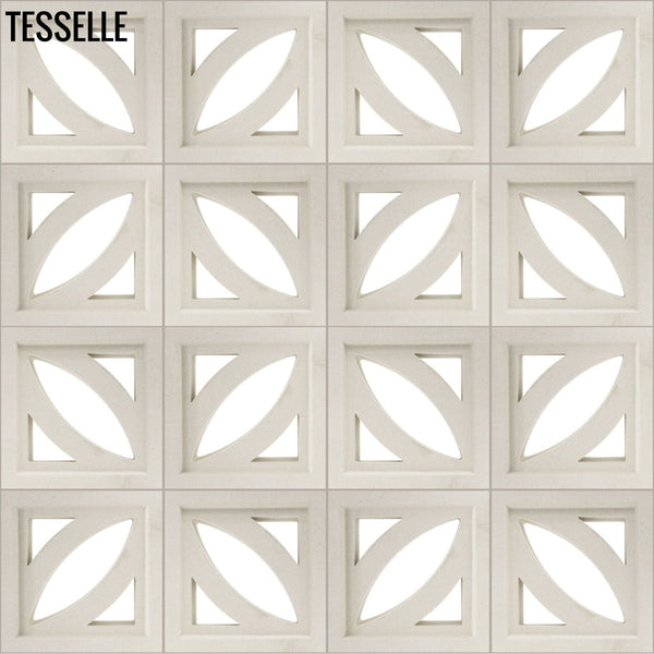 "Petal Lily White 7.5"" Cement Breeze Block LAYOUT1"
