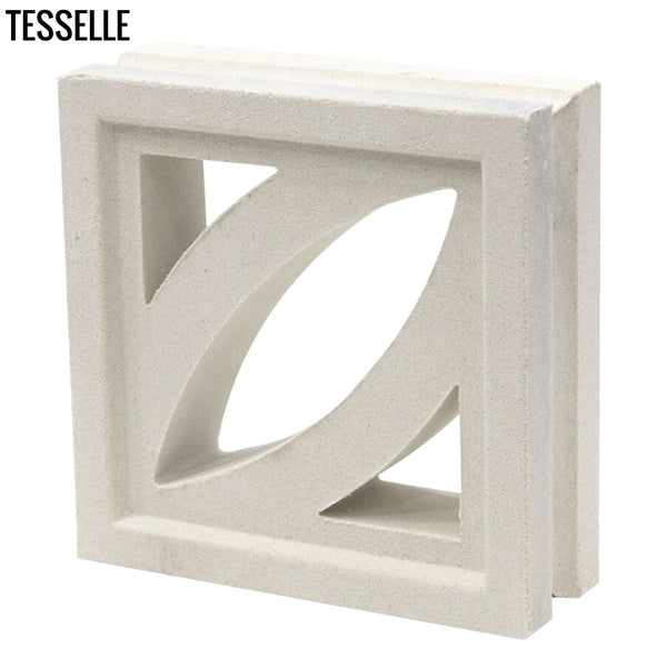 "Petal Lily White 7.5"" Cement Breeze Block ANGLE"