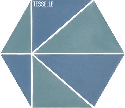 "Pinnacle Sky 9x8"" Hexagonal Cement Tile"