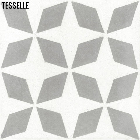 "Pinwheel Alloy 8"" Square Cement Tile"