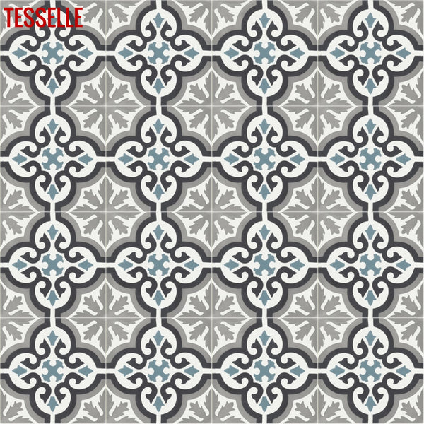 "Santiago Mari 8"" Square Cement Tile repeat"