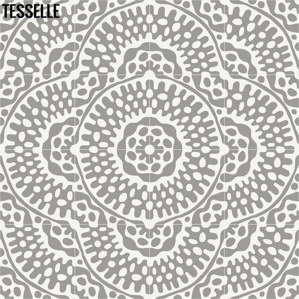 "Sonora Thistle 8"" Square Cement Tile Layout 3"
