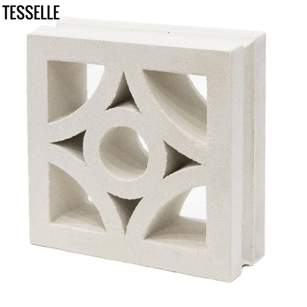 "Starlight Lily White 7.5"" Cement Breeze Block angle"