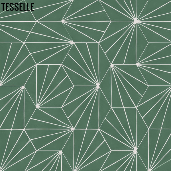 "Sunray Jade 9x8"" Hexagonal Cement Tile Layout 2"