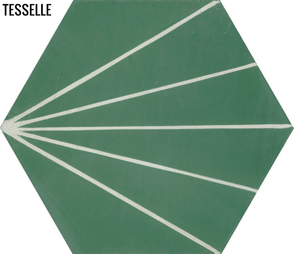 "Sunray Jade 9x8"" Hexagonal Cement Tile"