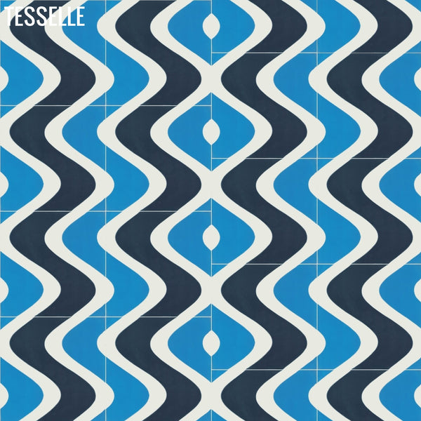 "Surfside 8""x8"" Square Cement Tile - Isle Layout B"
