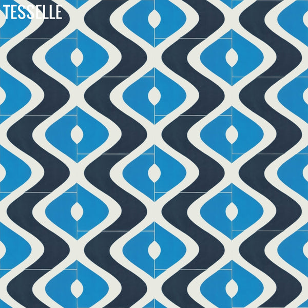 "Surfside 8""x8"" Square Cement Tile - Isle Layout A"