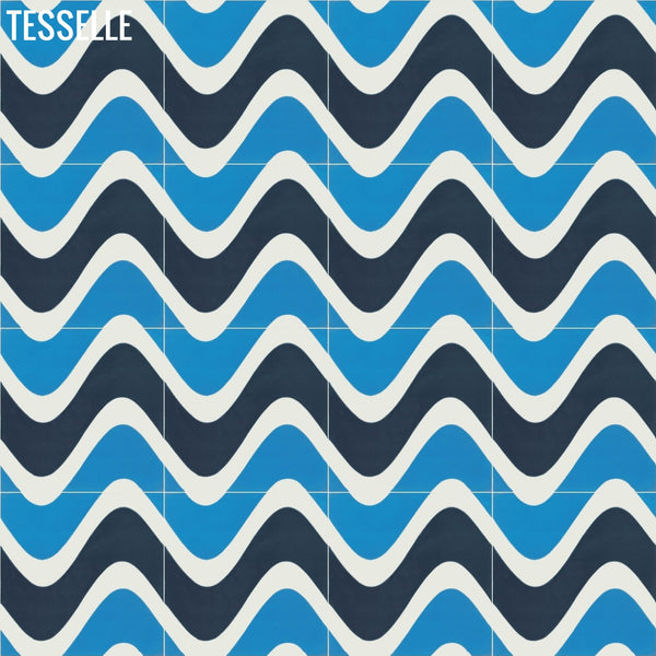 "Surfside 8""x8"" Square Cement Tile - Isle Layout D"