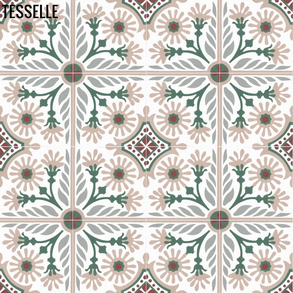 "Verona Rosata 8"" Square Cement Tile 1"