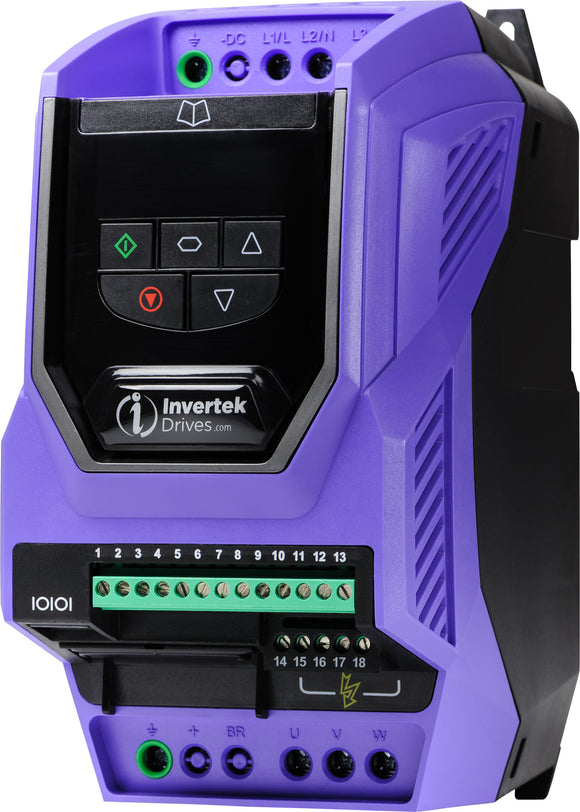 ECO IP20 2.2kW, 1Ph. Input, 3Ph. Output, 200-240V, EMC Filter, LED Display