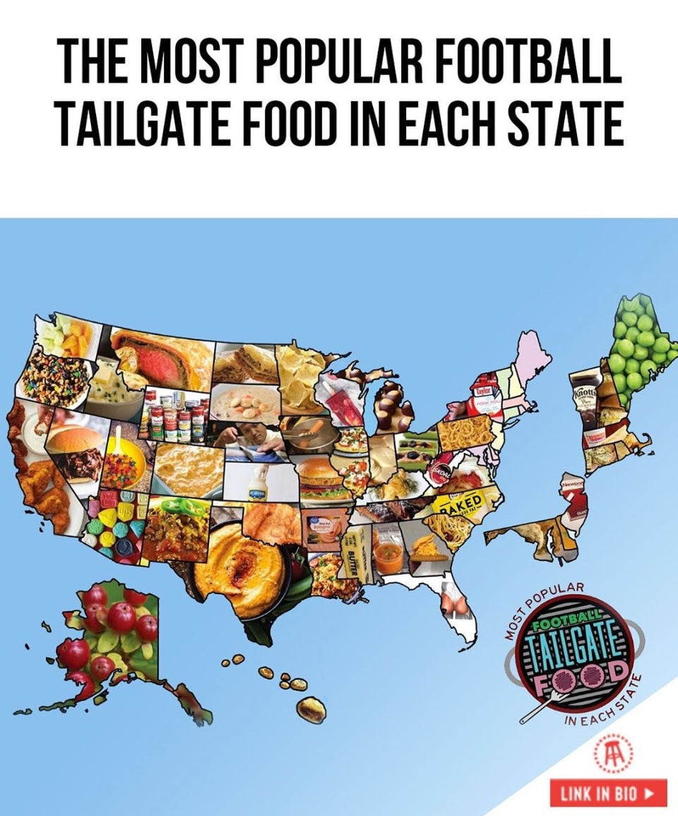 The Most Popular Football Tailgate Food in each state