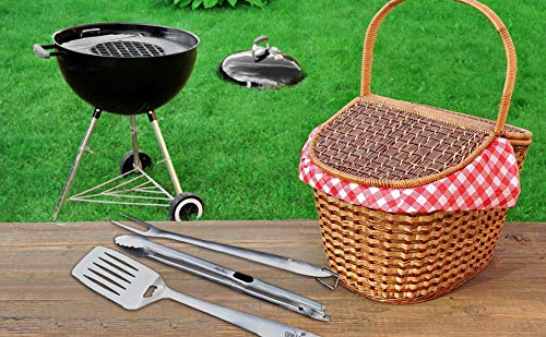 Premium BBQ Grill Set (Spatula, Meat Fork & Tongs)