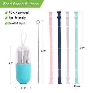Collapsible Silicone Drinking Straws with Case