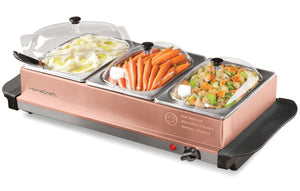 BSC15 3-Station 1.5-Quart Buffet Server & Warming Tray - Copper