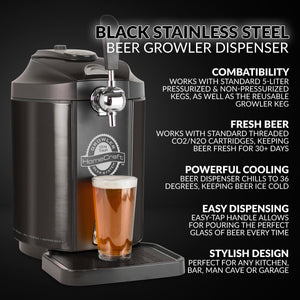 CBD5BS Black Stainless Steel Tap Beer Growler Cooling System