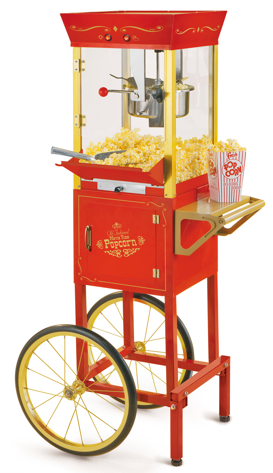 CCP510 Vintage Professional Popcorn Cart - NEW 8-Ounce Kettle - 53 In Tall - Black