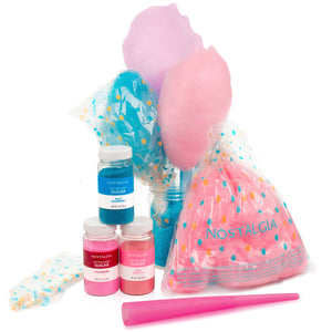 Nostalgia FSCC8 Cotton Candy Party Kit - Pink Vanilla, Blue Raspberry, Strawberry Flossing Sugars (7 oz. each) with Reusable Cones and Twist Ties