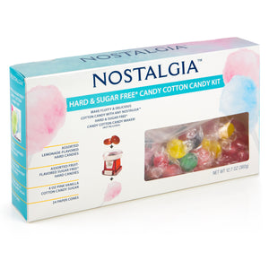Nostalgia HCK800 Hard & Sugar-Free Candy Cotton Candy Party Kit, 60 Candies, Flossing Sugar, 24 Paper Cones