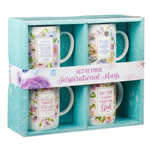 MUG515  Inspirational Floral Mug Set - 4 pc set