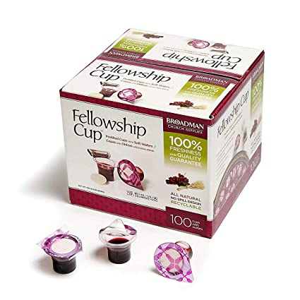 Fellowship Cup Prefilled Communion Cup with Wafer Box of 100   聖餐套裝 100 件裝(聖餐餅連葡萄汁)