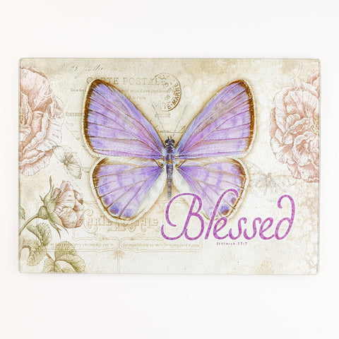 GLC002  水果板  Large Glass Cutting Board - Butterfly Blessings (耶利米書 17:7)