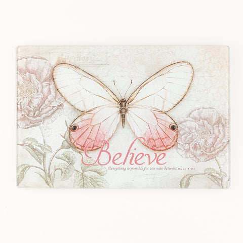 GLC003  水果板  Small  Glass Cutting Board - Believe Butterfly (馬可福音 9:23)