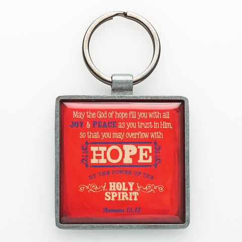 """Hope"" Metal Keyring Featuring Rom 15:3"