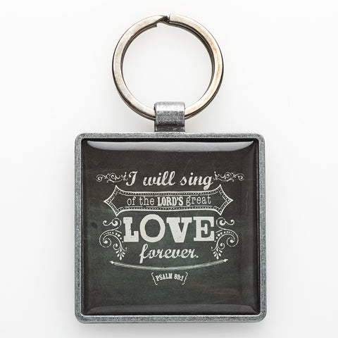 """Love"" Metal Keyring Featuring Psalm 89:1"