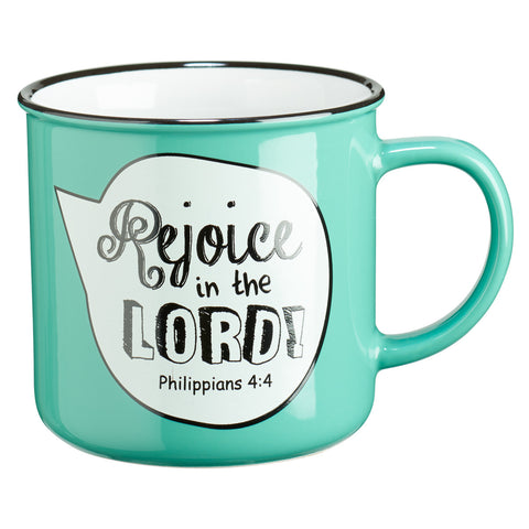 MUG430  Rejoice in the Lord Scripture Bubble in Turquoise Ceramic Philippians 4:4 Coffee Mug
