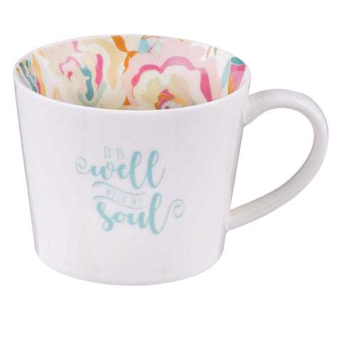 MUG612  Well With My Soul Ceramic Mug in White with Floral Interior