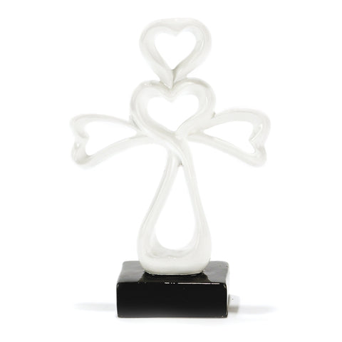 TTCR302  Tabeltop White Resin Heart Shape Cross 6 inch