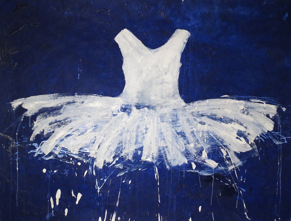 WHITE TUTU ON BLUE SEA - SOLD