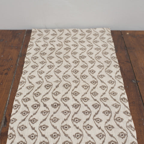 Kasuri Hemp Brown and Natural Ikat / Black Linen