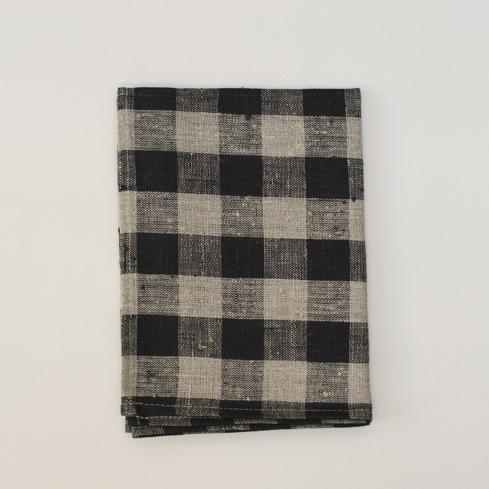 Linen Thick Dish Towel Black and Natural Check