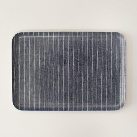 Linen Coated Rectangle Tray Navy Stripe Medium