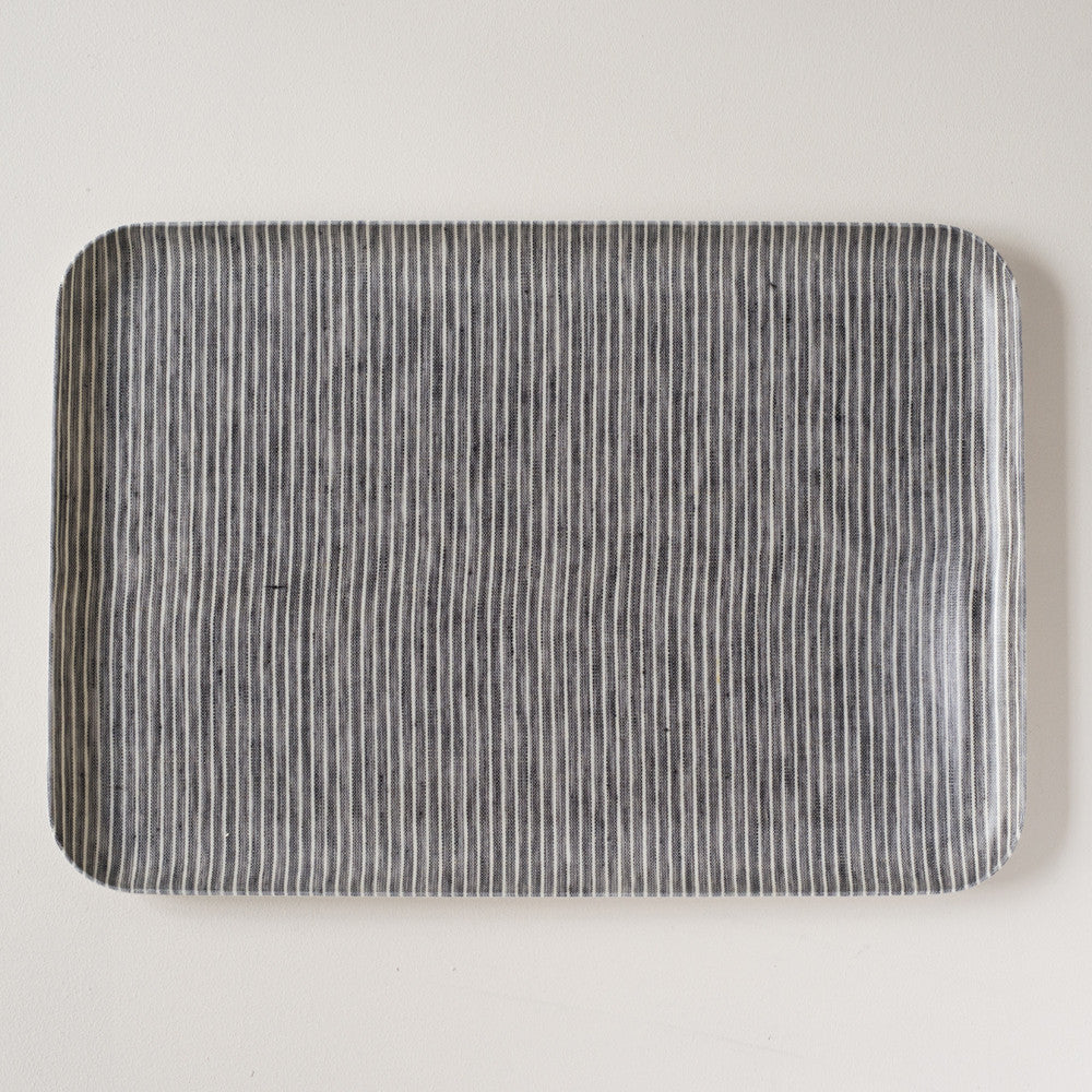 Linen Coated Rectangle Tray Grey Stripe Large