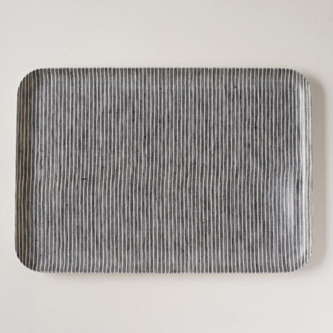 Linen Coated Rectangle Tray Grey Stripe Medium