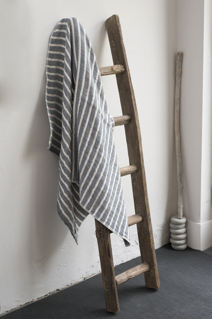 Stripe Navy and Off White Linen / Cotton Bath Towels