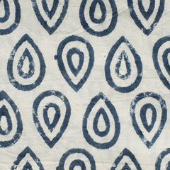 Block Print Teardrop / Blue and White