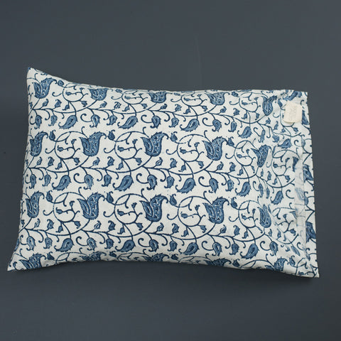 Block Print Two Tone Branch Leaf / Blue and White