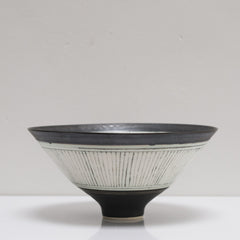Black and White Stripe Bronze Porcelain Bowl