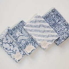 Block Print Diagonal Vine / Blue and White
