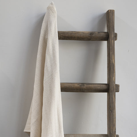 Cotton Cream Herringbone Bath Towel